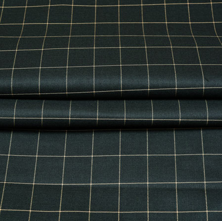 Green White Checks Wool Fabric-90217