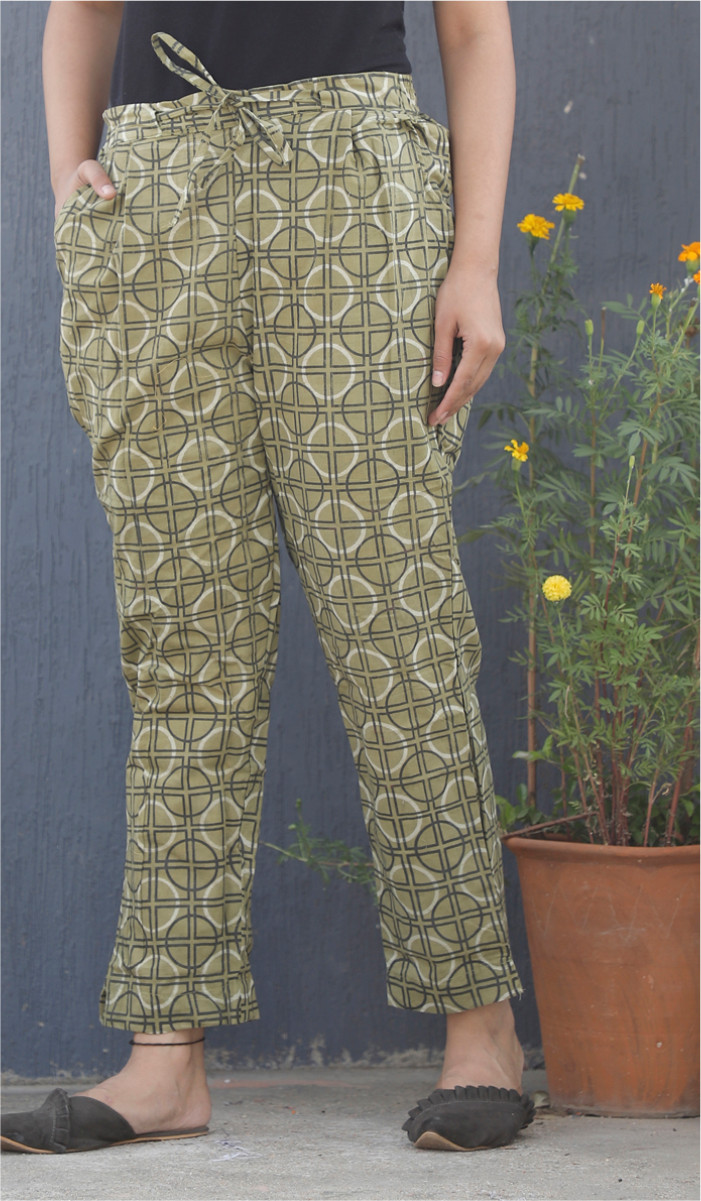 Green White and Black Block Print Cotton Pant-34113