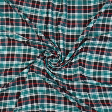 Green-White and Black Checks Cotton Handloom Fabric-40279