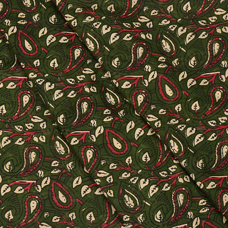 Green-White and Black Paisley Design Hand Block Muslin Fabric-20017