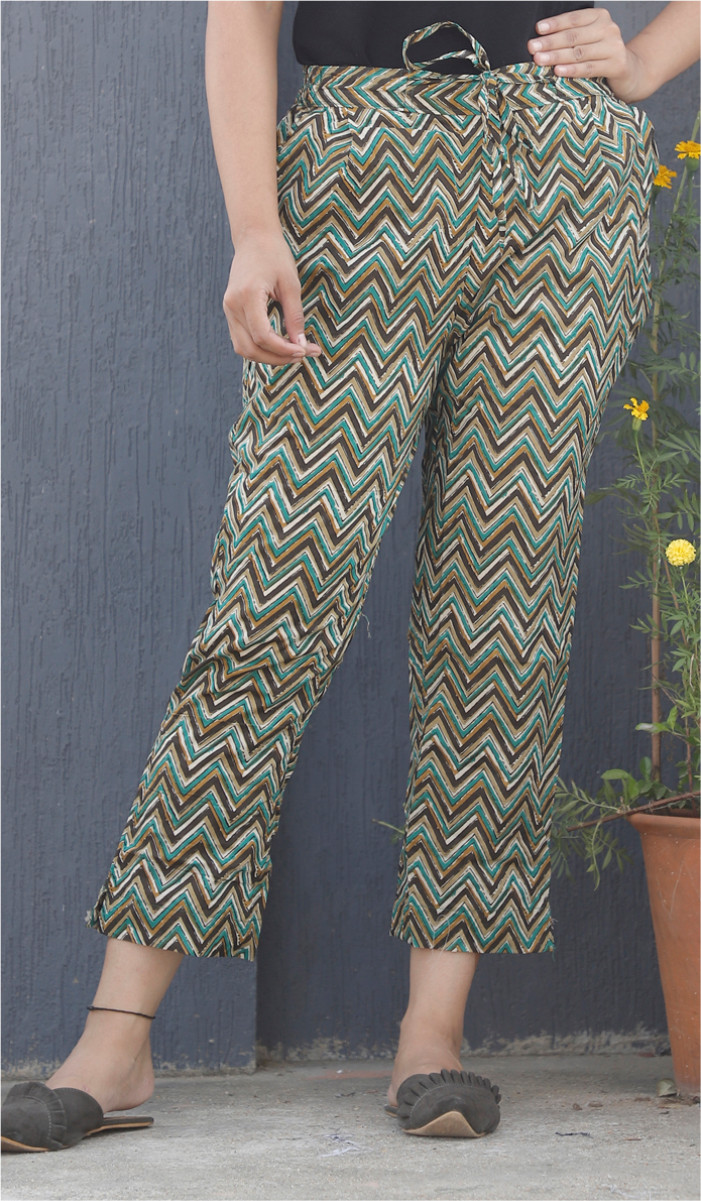 Green White and Brown Ikat Block Print Cotton Pant-34114