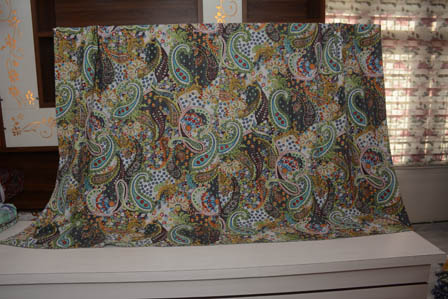 Green-White and Gray Handmade Paisley Pattern Kantha Quilt-4352