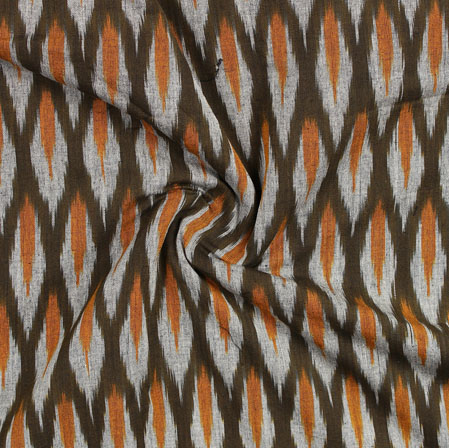 Green White and Orange Ikat Cotton Fabric-11048
