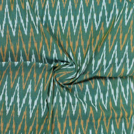 Green White and Orange Ikat Cotton Fabric-12330
