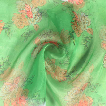 Green White and Peach Digital Floral Organza Silk Fabric-51820