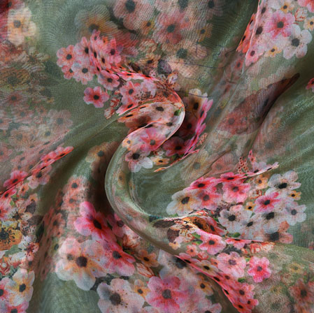 Green White and Pink Floral Organza Digital Silk Fabric-22348