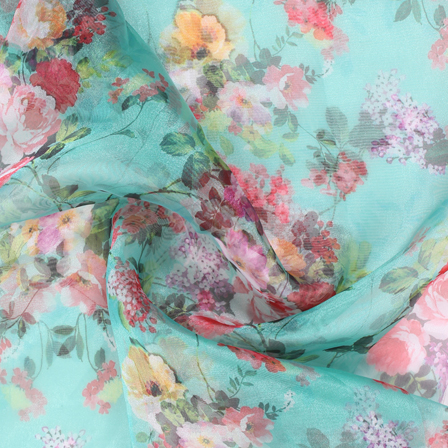 Green-White and Pink Flower Organza Digital Print Fabric-51393