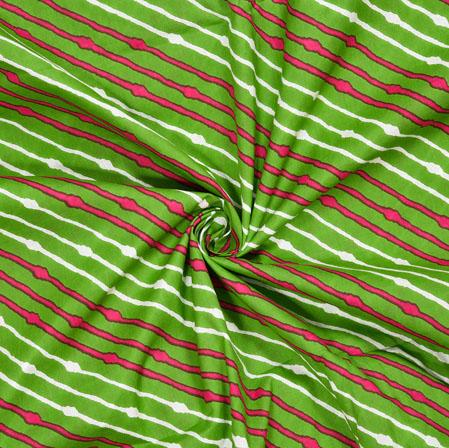 Green White and Pink Leheriya Cotton Fabric-28120