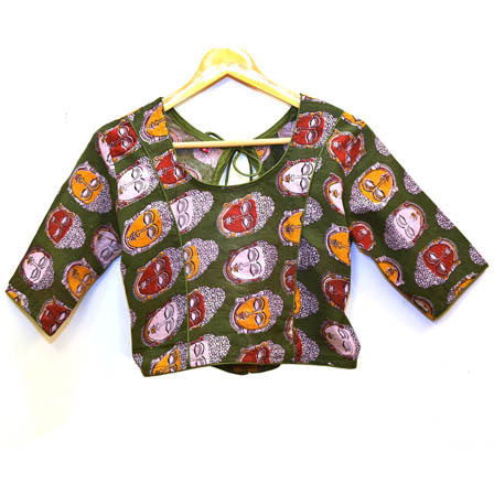 Green-White and Yellow Buddha Kalamkari Print Cotton Blouse-30019