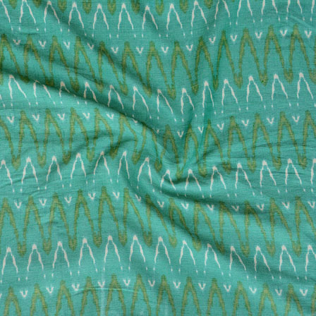 Green White ikat two tone Rayon Fabric-15189