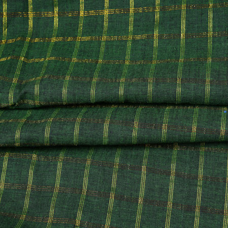 Green Yellow Checks Handloom Cotton Fabric-42513