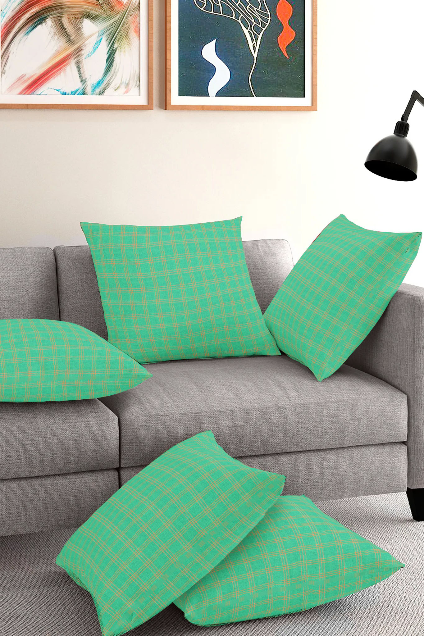 Set of 5-Green Yellow Cotton Cushion Cover-35397-16x16 Inches