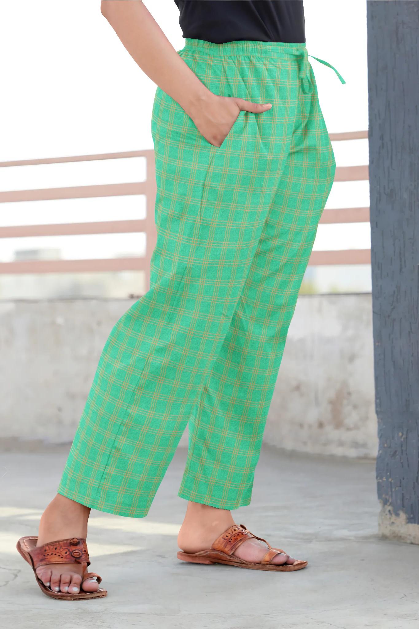 Green Yellow Cotton Regular Check Pant-35306