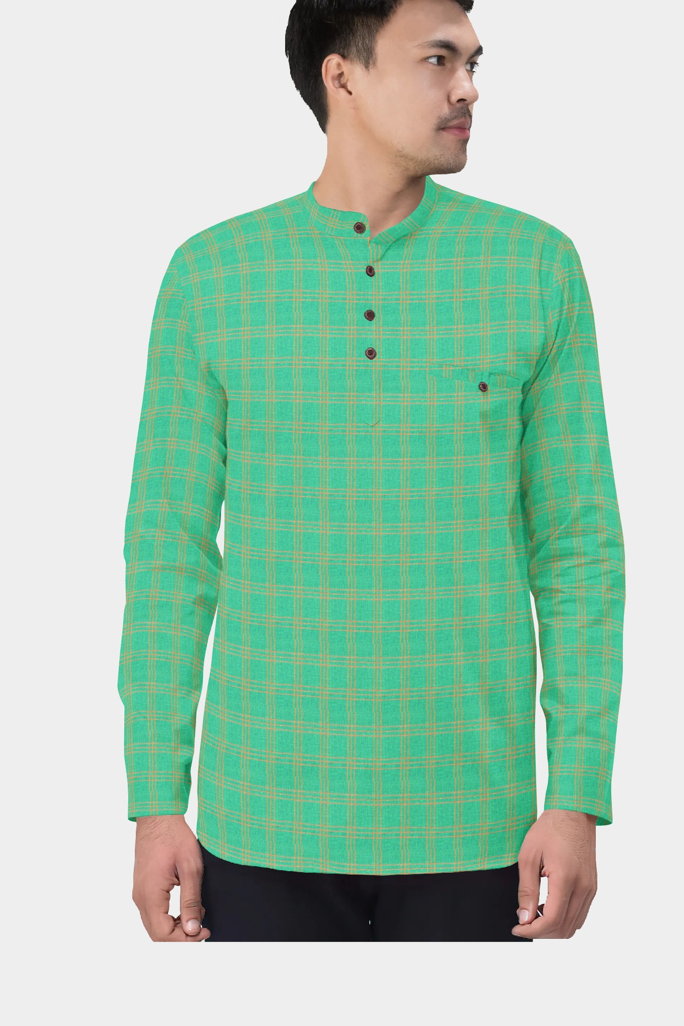 Green Yellow Cotton Check Short Kurta-35441