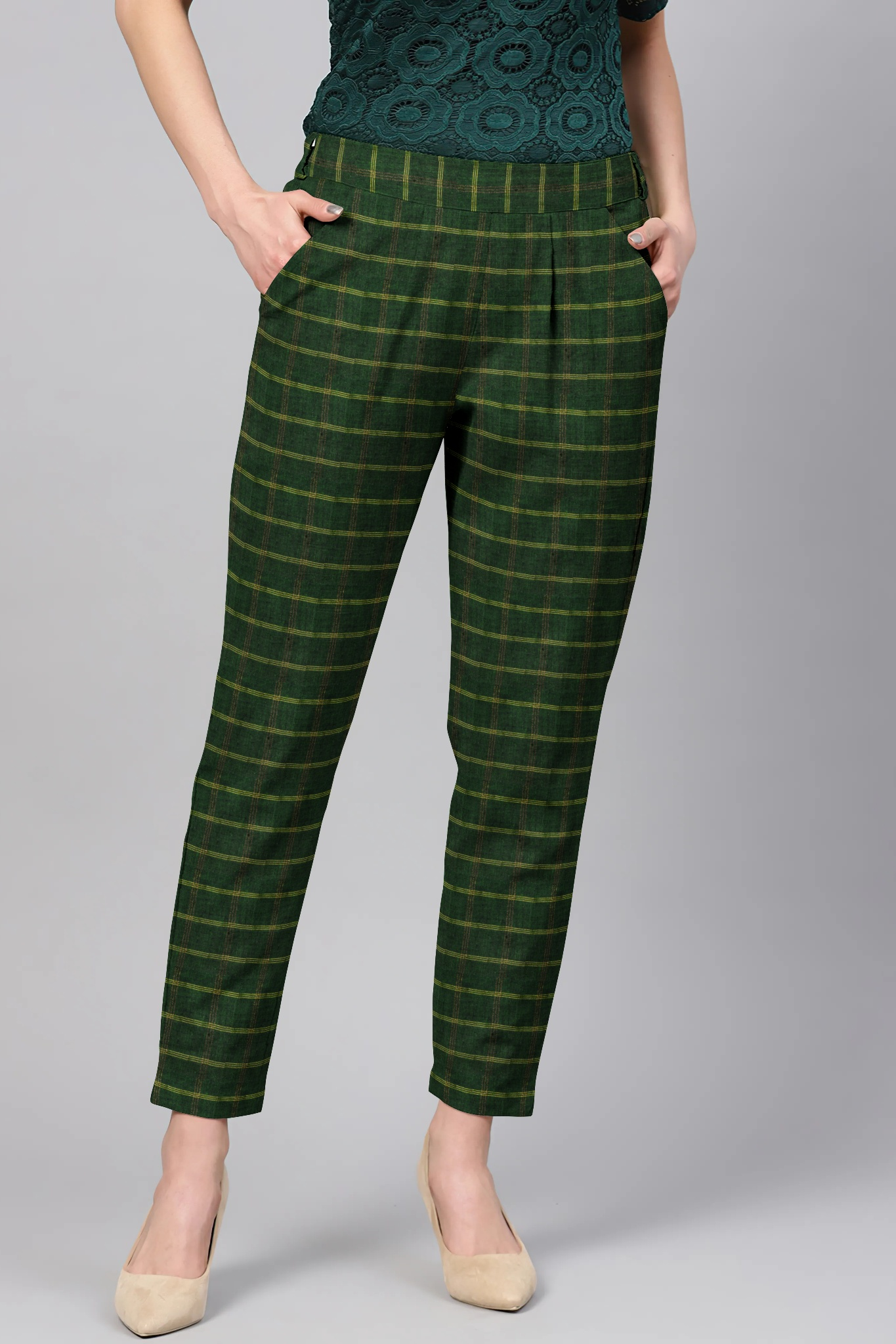 Green Yellow Cotton Stripe Regular Fit Solid Trouser-36070