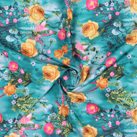 Green Yellow Flower Crepe Silk Fabric-18248