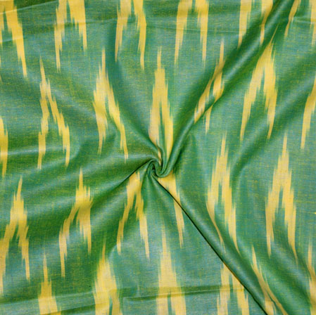 Green Yellow Ikat Cotton Fabric-11132