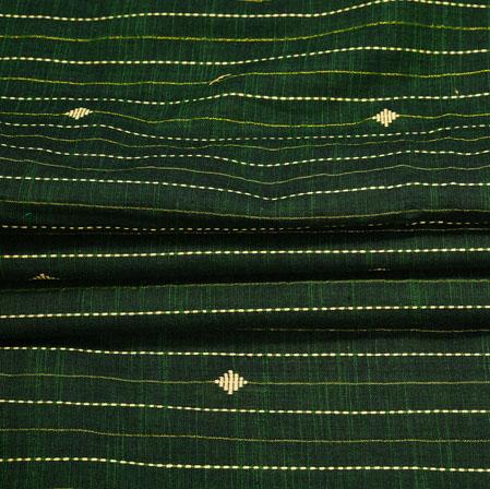 Green Yellow Stripe Handloom Cotton Fabric-41032