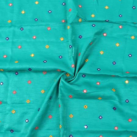 Green-Yellow and Blue Small Square Design Silk Embroidery Fabric-60124
