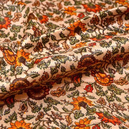 Green-Yellow and Peach flower Pattern Kalamkari Manipuri Silk Fabric 7565