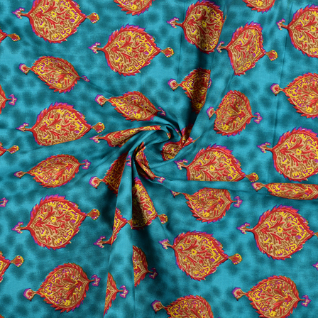 Green-Yellow and Red Floral Design Block Print Fabric-14428