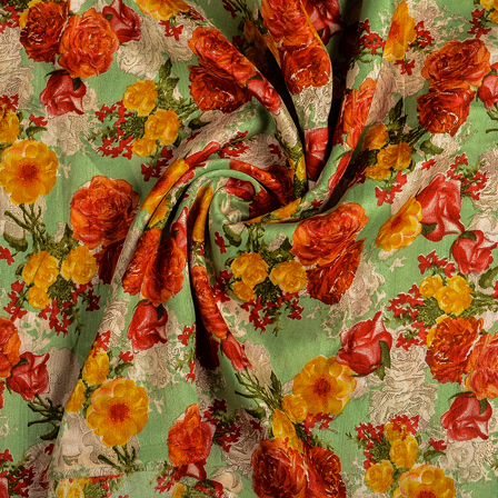 Green-Yellow and Red Flower Banglori Silk Fabric-37012