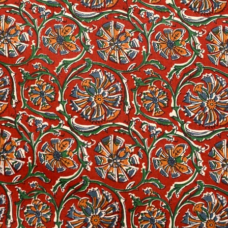 Green-Yellow and Red Flower Pattern Block Print Fabric-RL4343
