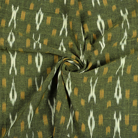 Green-Yellow and White Cotton Ikat Fabric-12091