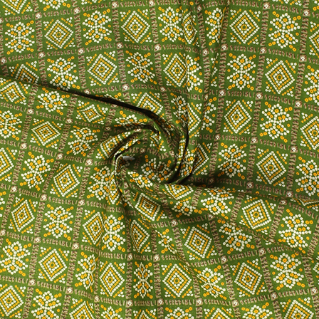 Green-Yellow and White Square Design Kalamkari Cotton Fabric-10018