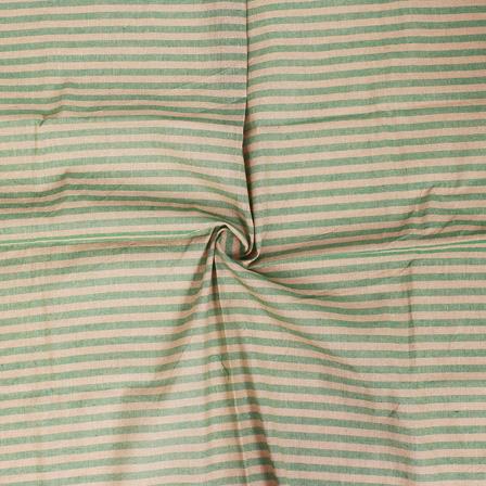 Green and Beige Lining Handloom Cotton Stripe Khadi Fabric-40004