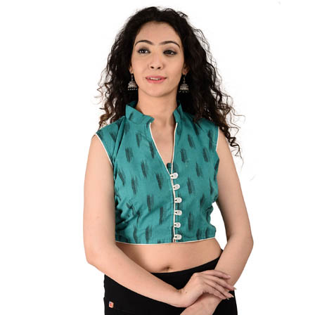 Green and Black Cut Sleeve Cotton Ikat Blouse-30171