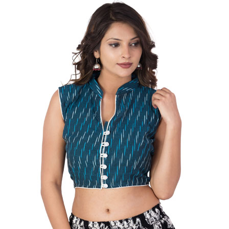 Green and Blue Cut Sleeve Cotton Ikat Blouse-30207
