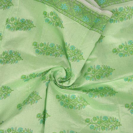 Green and Blue Floral Design Silk Chanderi Fabric-9035