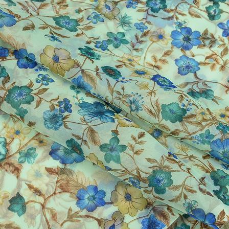 Green and Blue Flower Silk Organza Fabric-51123