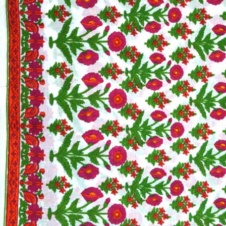 Green and Burgundy Traditional Folwer Print Indian Cotton Fabric