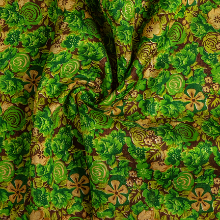 Green and Cream Flower Banglori Silk Fabric-37011