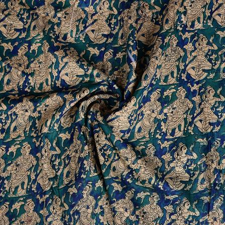 Green and Cream Kalamkari Manipuri Silk Fabric-16355