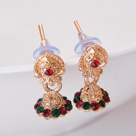 Green and Dark Red Stone with Golden Polish Jhumki for women