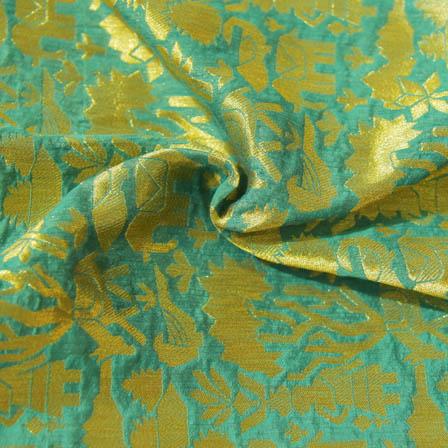 Green and Golden Animals Design Brocade Silk Fabric-8037