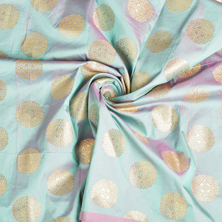 Green and Golden Brocade Silk Fabric-8530