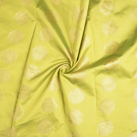 Green and Golden Brocade Silk Fabric-8579
