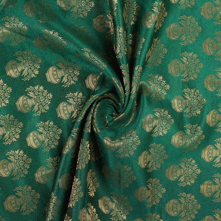 Green and Golden Brocade Silk Fabric-8867