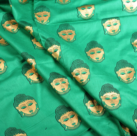 Green and Golden Buddha Face Jam Cotton Silk Fabric-75160