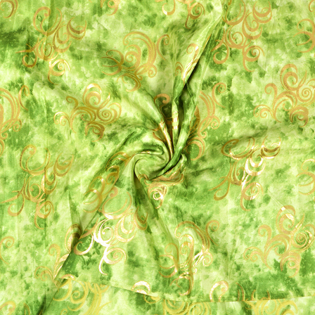 Green and Golden Chanderi Silk Fabric-9009