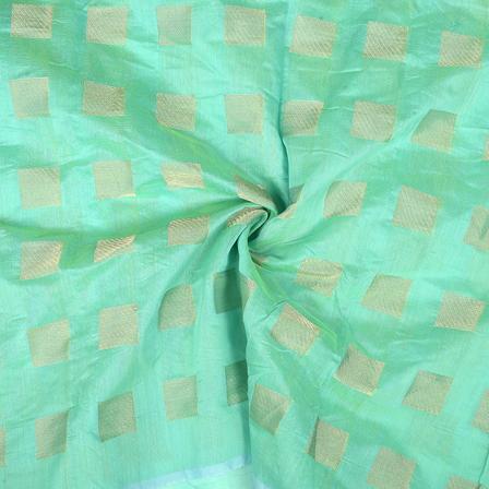 Green and Golden Chanderi Silk Fabric-9026