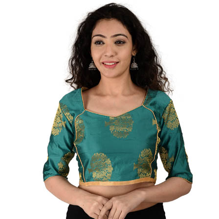 Green and Golden Elbow Sleeve Silk Brocade Blouse -30179