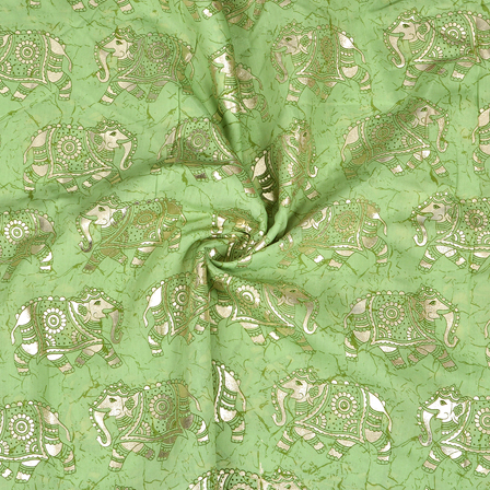 Green and Silver Elephant Chanderi Silk Fabric-9005