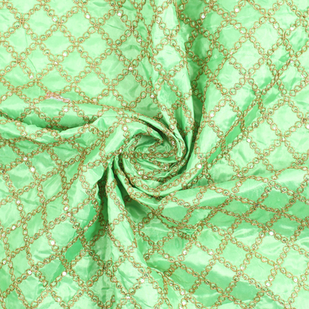 Green and Golden Embroidery Silk Fabric-60907