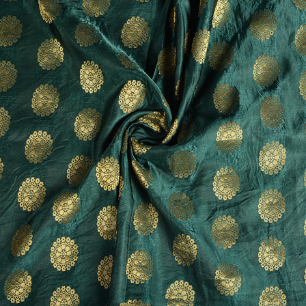 Green and Golden Floral Banarasi Brocade Fabric-8595