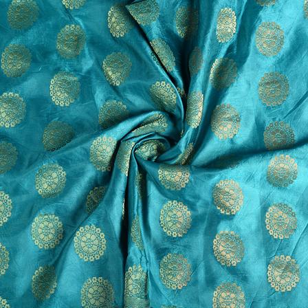 Green and Golden Floral Banarasi Brocade Fabric-8596